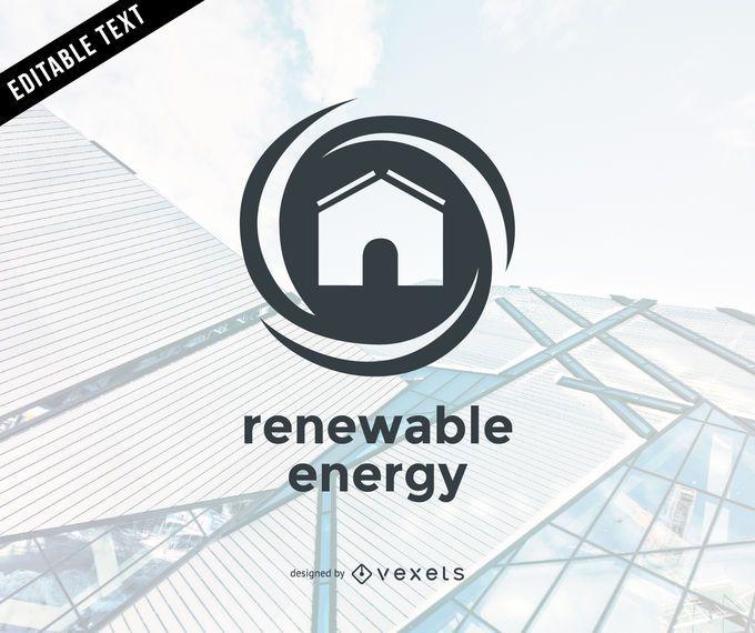 Plantilla de logotipo de energía renovable plana