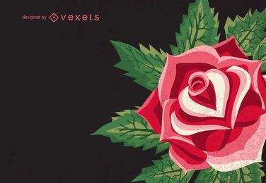 Ilustração retro de rosa