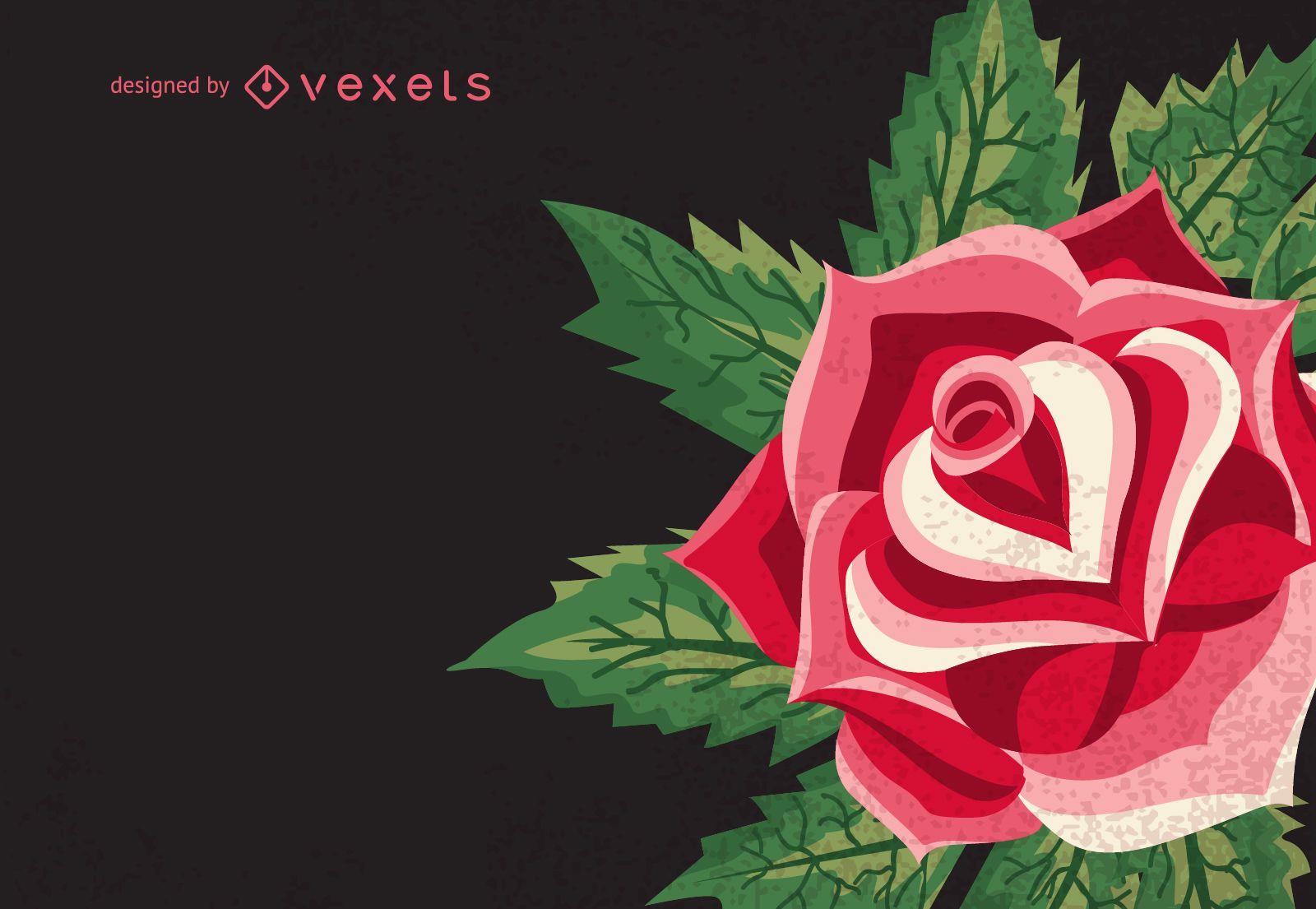 Retro rose illustration