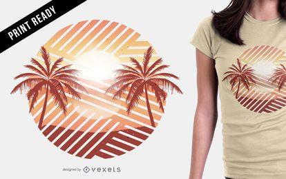 Diseño de camiseta al atardecer de palmeras.