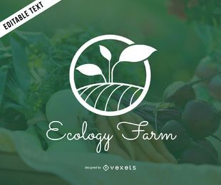 Modelo de logotipo verde fazenda ecologia