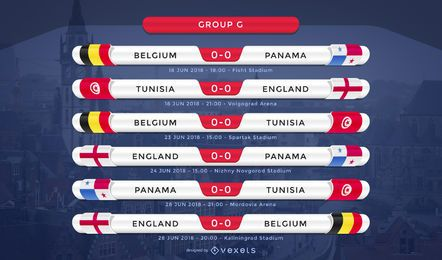 Rússia 2018 World Cup group G calendário