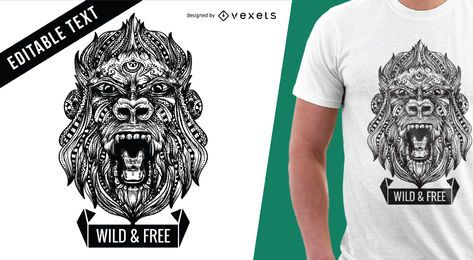 Ilustración de gorila t-shit design