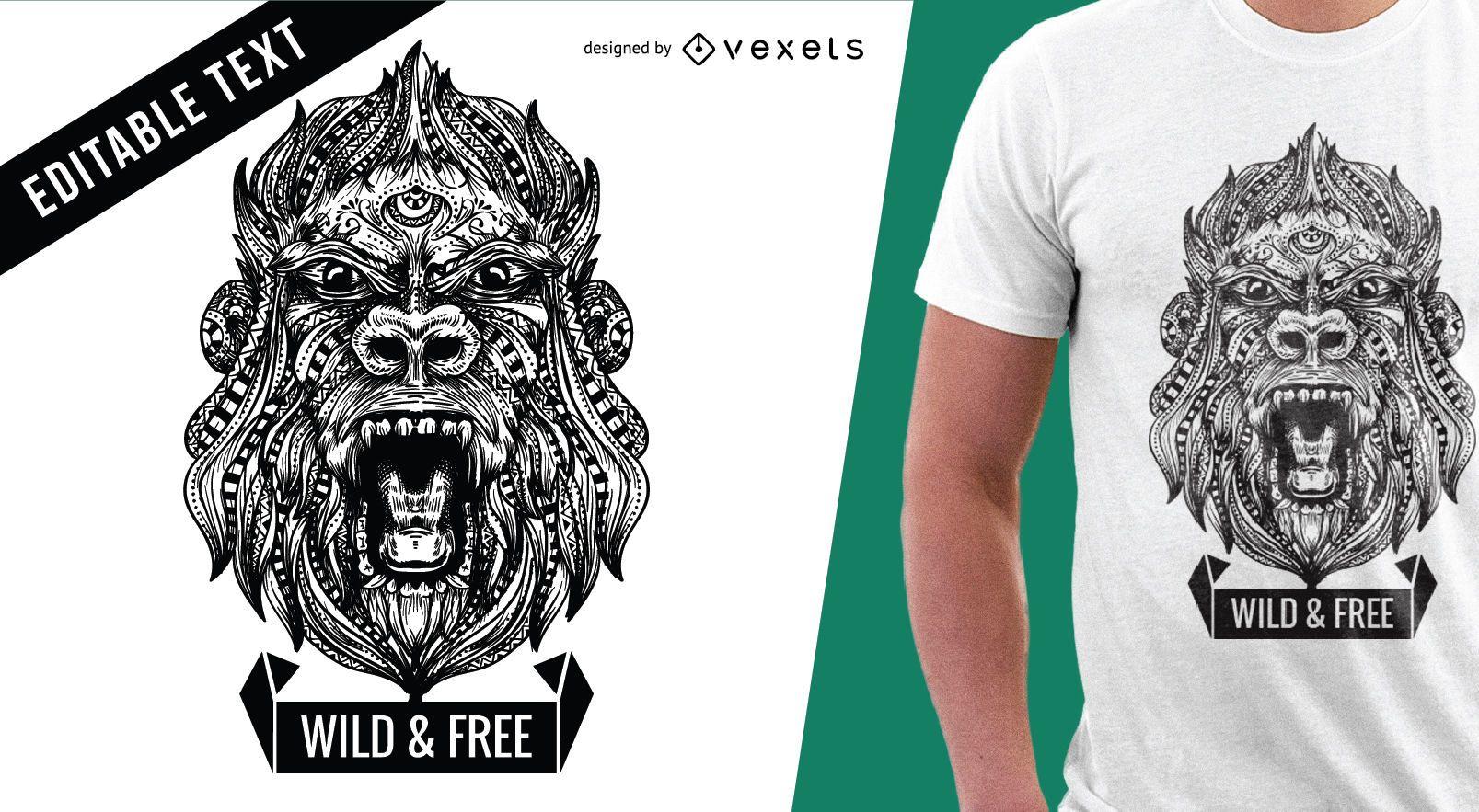 Diseño de t-shit de ilustración de gorila