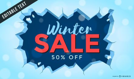 Winter sale poster with ice