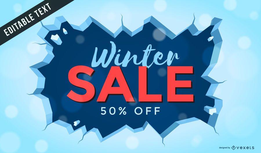Cartaz de venda de inverno com gelo