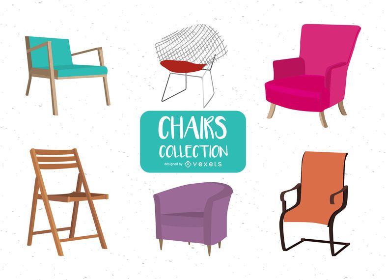 Pack de ilustraciones de sillas