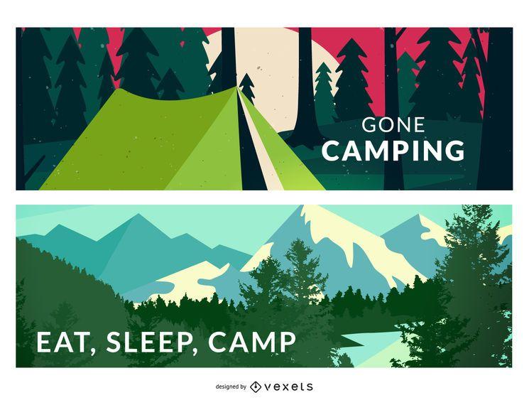 Pacote de ilustrações de acampamento