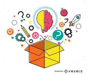 Ilustración de caja de ideas
