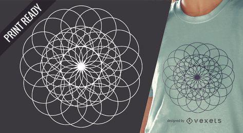 Ilustración de diseño de camiseta de geometría sagrada
