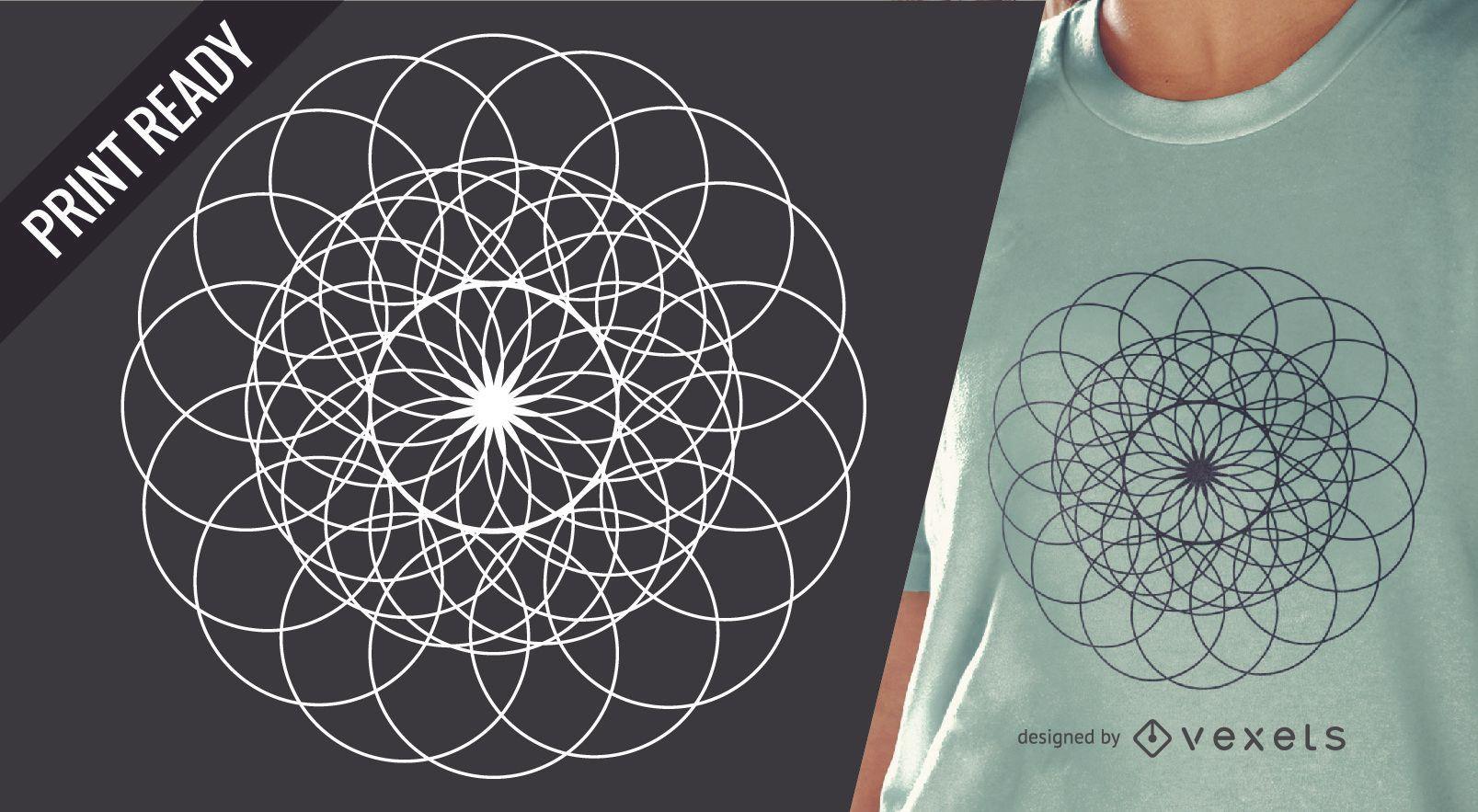 Sacred geometry t-shirt design illustration