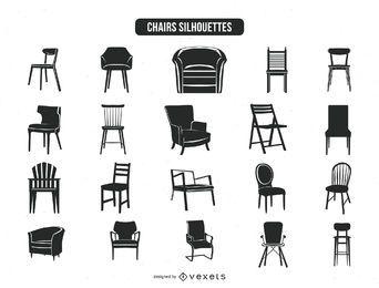 20 coleção de silhuetas de cadeira