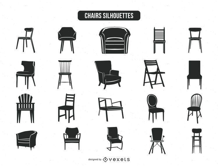 Colección de 20 siluetas silla