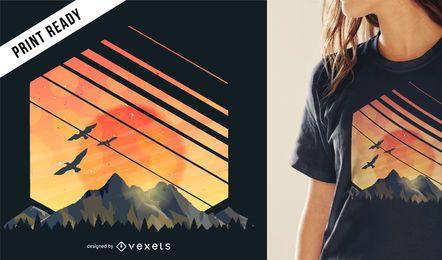 Projeto do t-shirt do por do sol da montanha