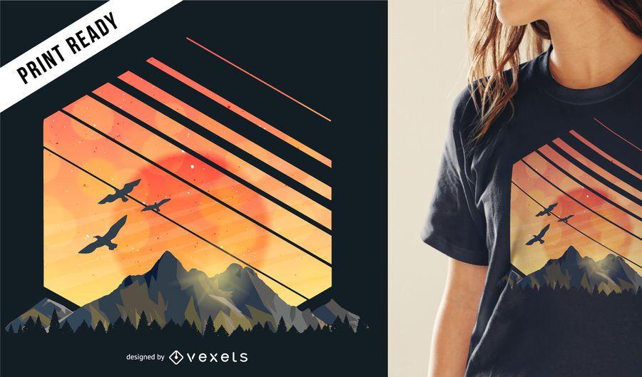 Diseño de camiseta de montaña al atardecer.