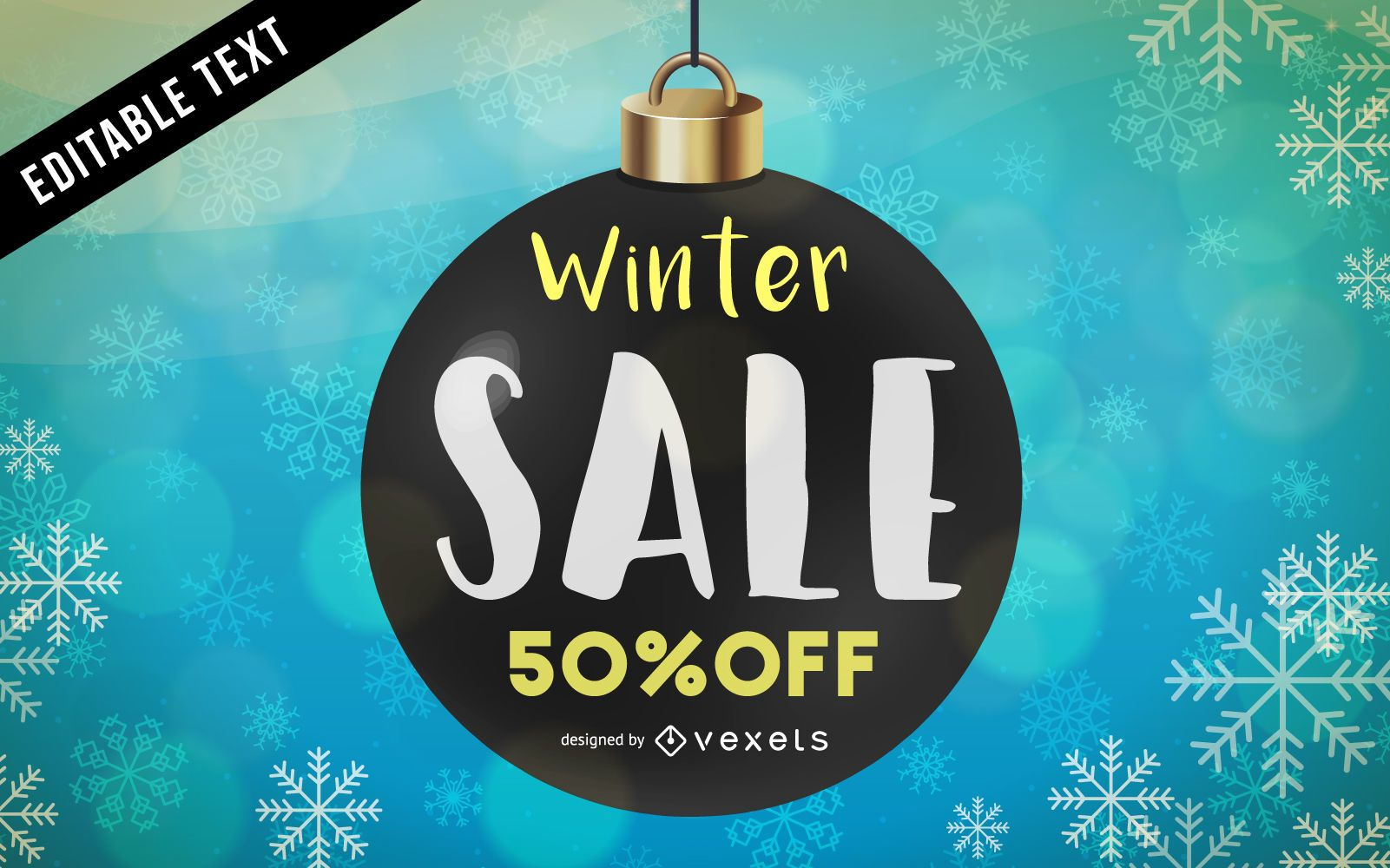 Winter sale with snowflakes poster