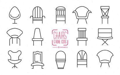 Conjunto de ícones de cadeira de traçado