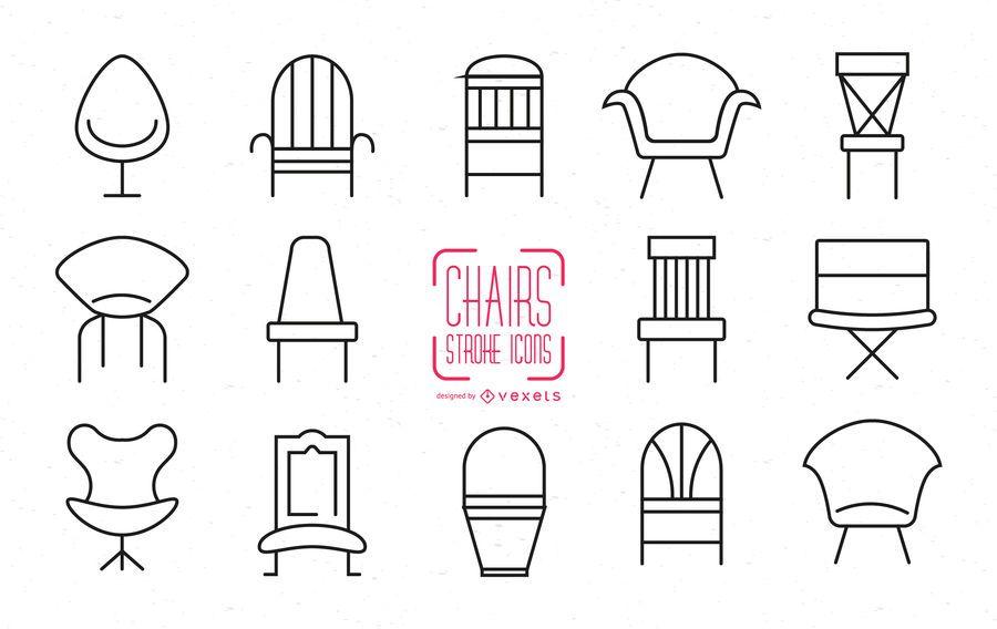 Conjunto de iconos de silla de movimiento