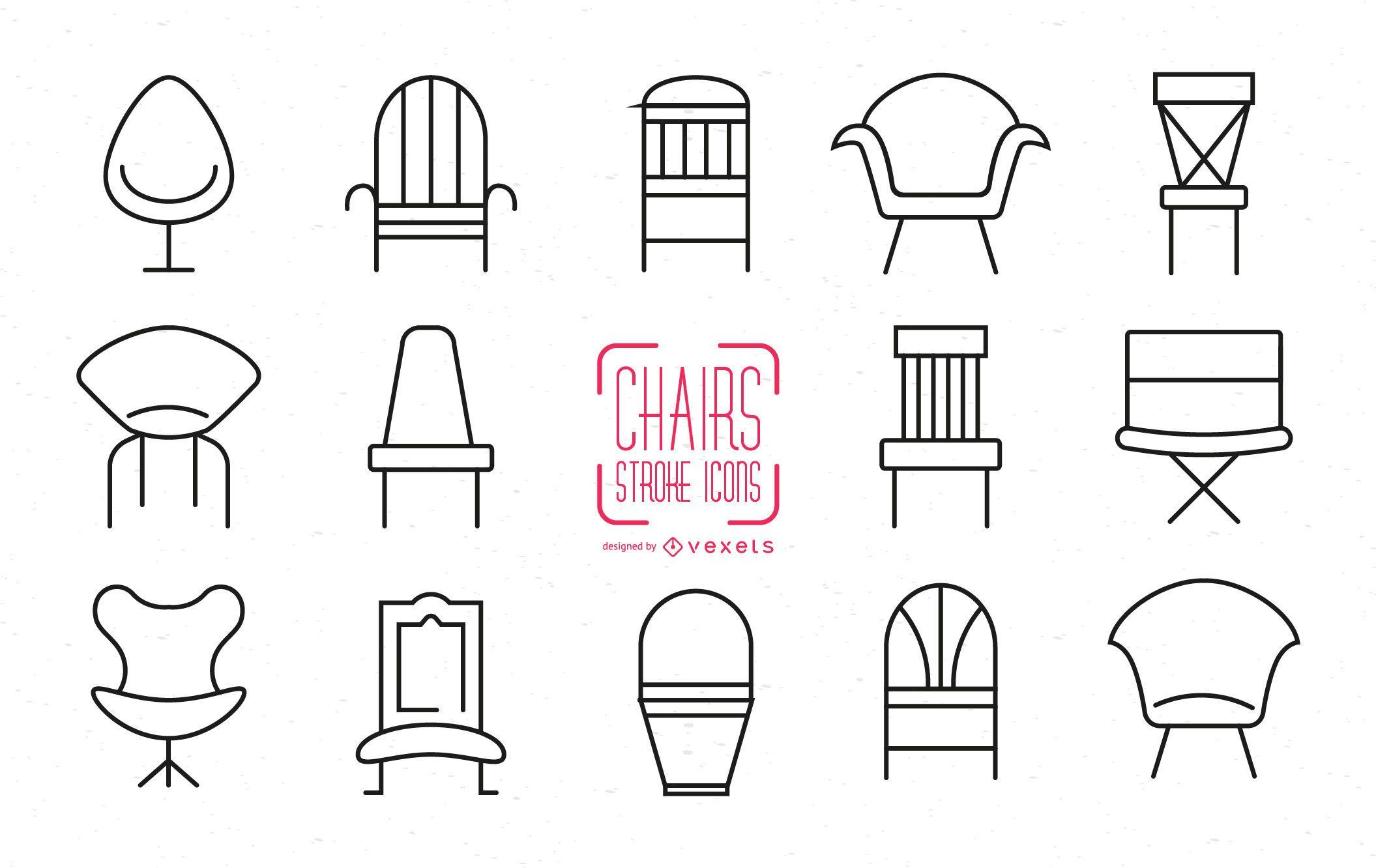 Conjunto de iconos de silla de trazo