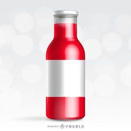 Maquete de embalagem de garrafa vermelha
