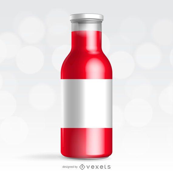 Maqueta de envases botella roja