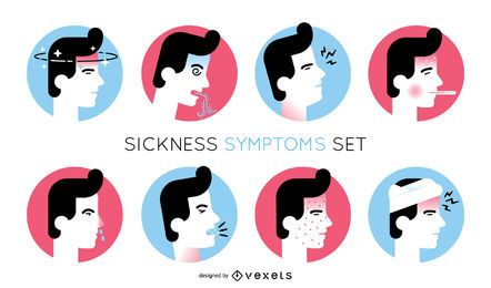 Conjunto de ilustração de sintomas de doença