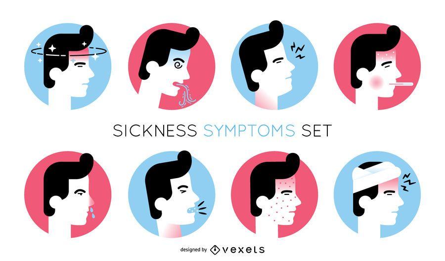 Sickness symptoms illustration set