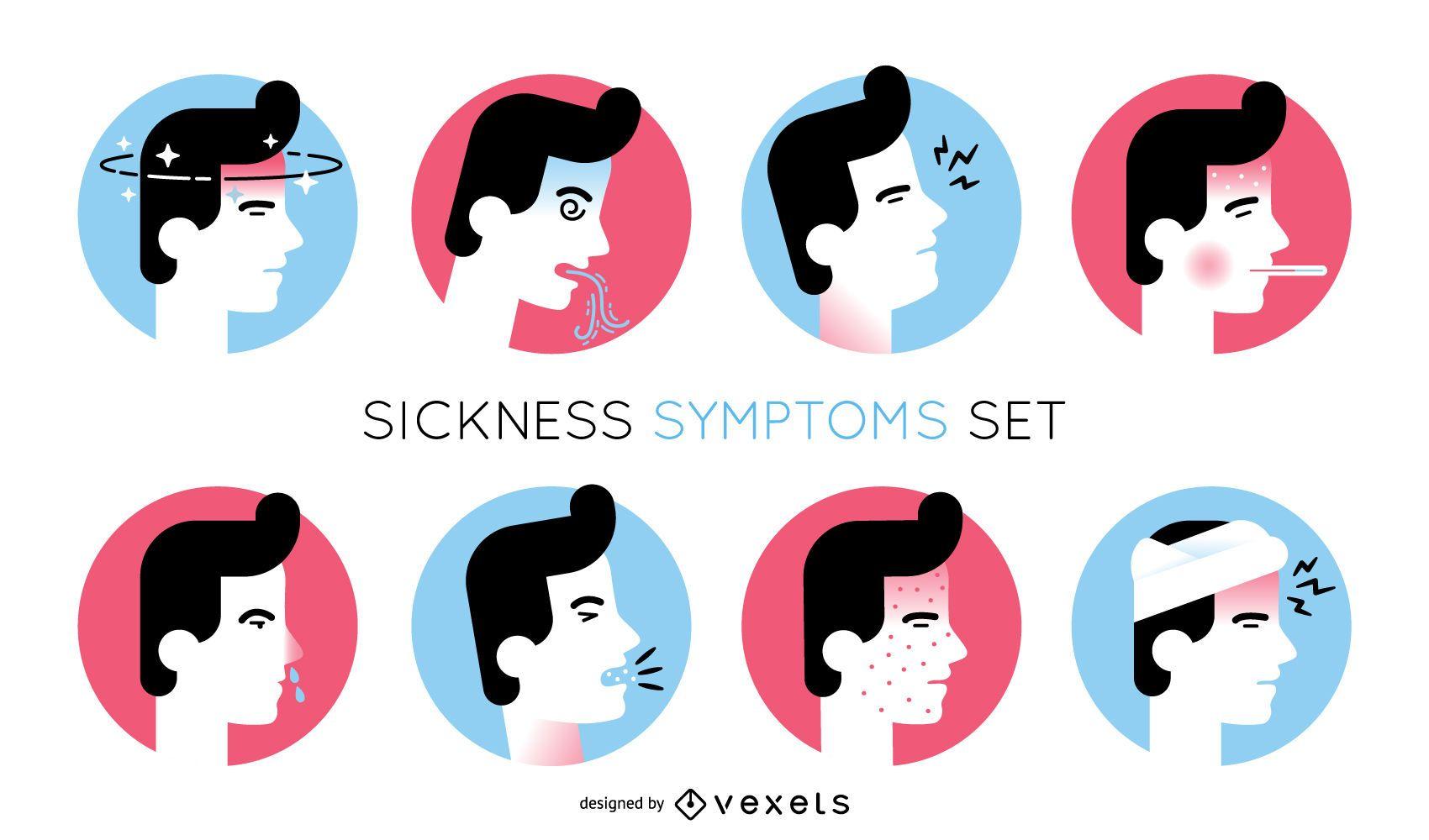 Conjunto de ilustración de síntomas de enfermedad