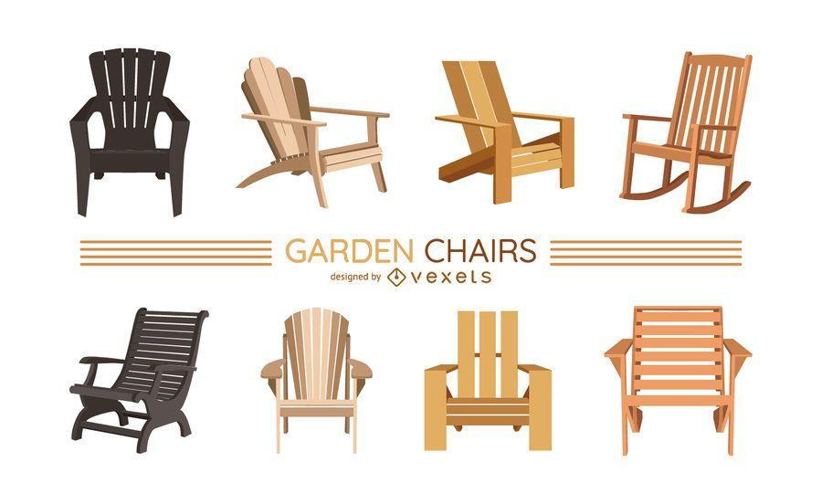 Conjunto de ilustración de sillas de jardín