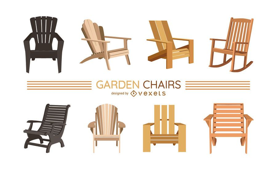 Garden chairs illustration set