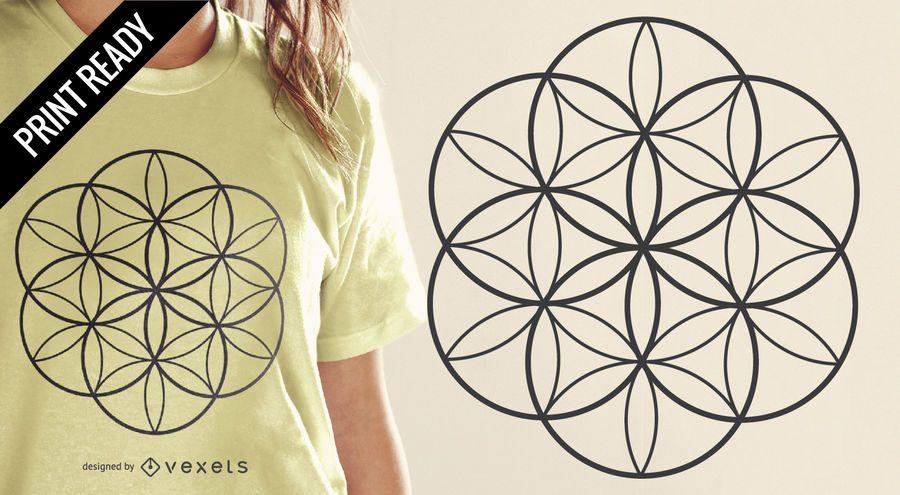 Flor do projeto do t-shirt da vida