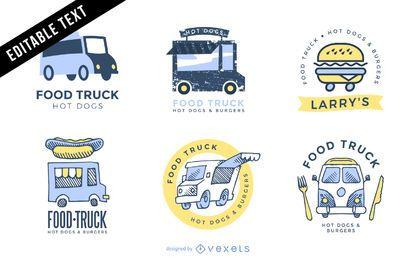 Conjunto de modelos de logotipo de caminhão de alimentos