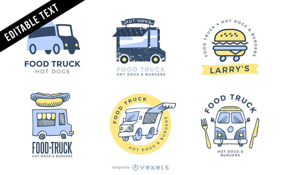 Conjunto de modelo de logotipo de caminhão de comida