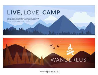 Conjunto de camping ilustrado