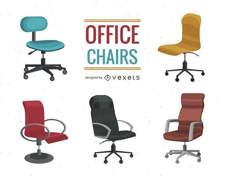 Conjunto de ilustración de silla de oficina