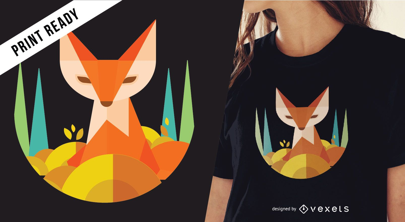 Geometric Fox T Shirt Design Vector Download