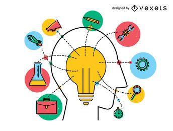 Concepto de innovación idea de diseño