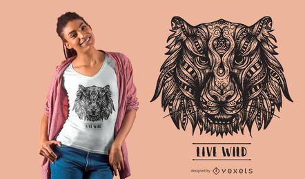 Projeto do t-shirt do tigre da mandala