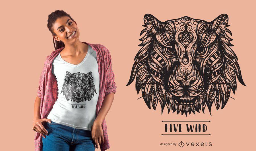 Design de t-shirt Mandala tiger