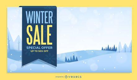 Diseño de cartel de venta de invierno