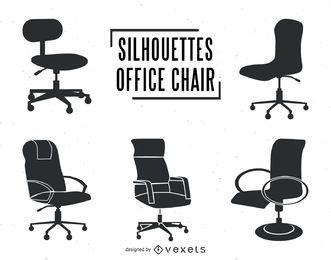 Conjunto de silhuetas de cadeira de escritório