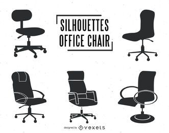 Office chair silhouettes set