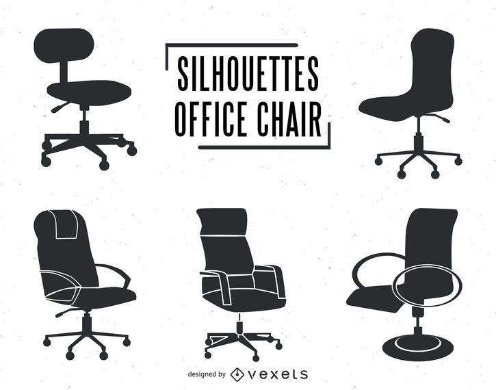 Conjunto de siluetas de silla de oficina