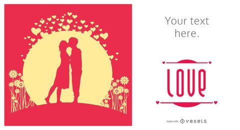 Criador de cartão ilustrado de dia dos namorados