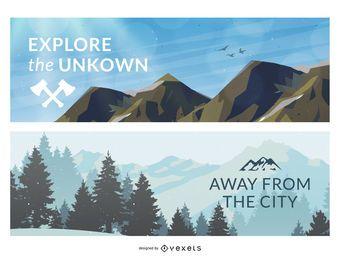 2 banners de ilustração de montanha ao ar livre ou quadros