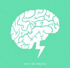Ilustración de concepto de bombilla de luz del cerebro