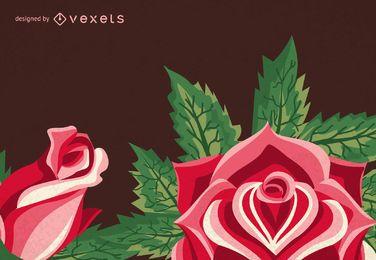 Quadro de ilustrações da rosa do vintage
