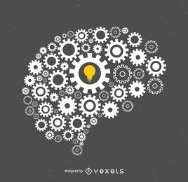 Cérebro feito de ilustração de parafusos