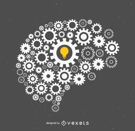 Cerebro hecho de la ilustración de tornillos