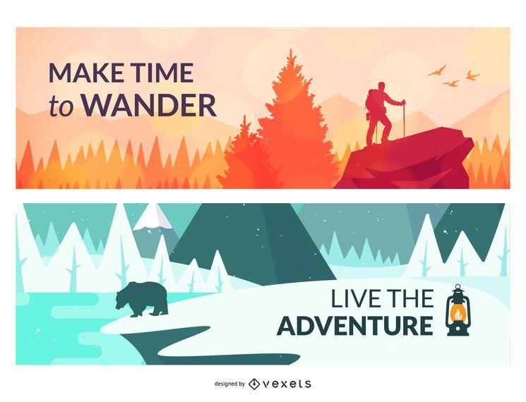 Outdoor landscapes illustration set
